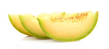 Close-up shot Melon galia slices, pieces isolated white in studio Stock Images