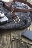 Close up  shot of men's winter clothes Stock Photo