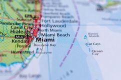 Miami on map. Close up shot of Miami. is a major port city on the Atlantic coast of south Florida Stock Images
