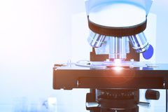 Close up shot of microscope at the blood laboratory Stock Image