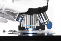 Close up shot of microscope at the blood laboratory Stock Images