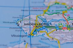 Middelburg on map. Close up shot of Middelburg on map, Middelburg is a city and municipality in the south-western Netherlands serving as the capital of the Stock Image