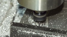 Close-up shot: Miller is Cutting Aluminum. Royalty Free Stock Photo
