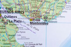 Montevideo on map. Close up shot of Montevideo. is the capital and largest city of Uruguay Royalty Free Stock Photo