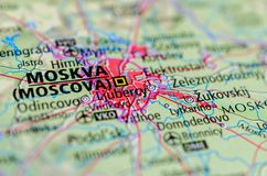 Moscow on map. Close up shot of Moscow. is the capital and most populous city of Russia. Moskva Royalty Free Stock Image