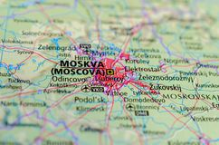 Moscow on map. Close up shot of Moscow. is the capital and most populous city of Russia. Moskva Royalty Free Stock Photos