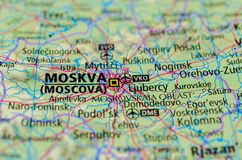 Moscow on map. Close up shot of Moscow. is the capital and most populous city of Russia. Moskva Stock Photos