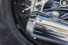 Close up shot of a motorcycle exhaust pipes Stock Images