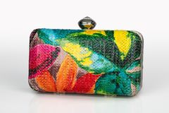 Close Up Shot Of  Multicolor Leather Lady`s Clutch Bag With Trop Royalty Free Stock Photos
