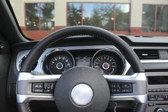 Close up shot of a multifunction steering wheel Stock Image