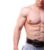 Close up shot of muscular man with lifting belt Stock Photo