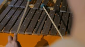 Close-up shot of musician playing xylophone. Art and entertaiment concept stock video