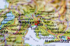 Nagoya on map. Close up shot of Nagoya on map. is the largest city in the Chūbu region of Japan royalty free stock photos
