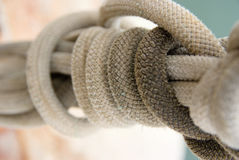 Close-up shot on nautical rope. Close-up shot on a knotted nautical rope Stock Photo