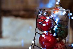 Close up shot of new year decoration. Copy space royalty free stock photo