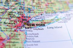 New York City on map. Close up shot of New York City. is the most populous city in the United States Stock Image