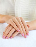 Close up shot of nicely manicured woman fingernails Royalty Free Stock Images
