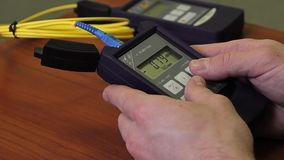 Close up shot of the Optical Power Meter stock video footage