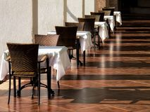 Close up tables and chairs royalty free stock images