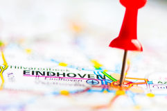 Close-up shot over Eindhoven City On Map, Netherlands Royalty Free Stock Photo