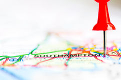 Close-up shot over Southampton On Map, United Kingdom. Red pushpin showing Southampton City On Map, United Kingdom, Travel Destination Concept Stock Images