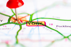 Close-up shot over York City On Map, United Kingdom Royalty Free Stock Images