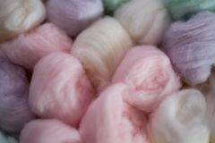 Close up shot of pastel colored cotton wool