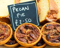 Close up shot of pecan pies Royalty Free Stock Photo
