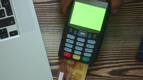 Person using credit card. Close-up shot of person using credit card for mobile payment stock video footage