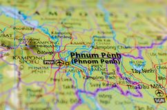 Phnom Penh on map. Close up shot of Phnom Penh on map. formerly known as Krong Chaktomuk or Krong Chaktomuk Serimongkul Royalty Free Stock Images