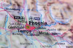Phoenix, Arizona on map. Close up shot of Phoenix, Arizona. is the capital and most populous city of the U.S. state of Arizona Royalty Free Stock Photo