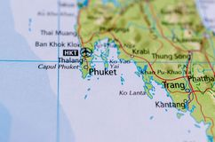 Phuket on map. Close up shot of Phuket. is one of the southern provinces changwat of Thailand Stock Images