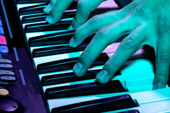 Close up shot of a piano at a party Stock Photo