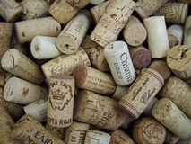 Close-Up Shot of Pile of Wine Corks stock photos