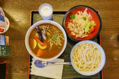 Close up shot of a plate of delicious vegetable curry ramen. Ate at Hokkaido, Japan royalty free stock photos