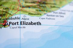 Port Elizabeth on map. Close up shot of Port Elizabeth.  is one of the largest cities in South Africa Royalty Free Stock Images
