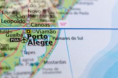 Porto Alegre on map. Close up shot of Porto Alegre. is the capital and largest city of the Brazilian state of Rio Grande do Sul Stock Images