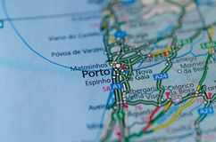 Porto on map. Close up shot of Porto on a map Royalty Free Stock Image