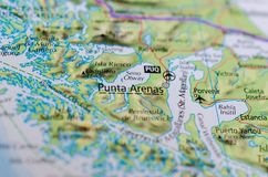 Punta Arenas on map. Close up shot of Punta Arenas.  is the capital city of Chile`s southernmost region, Magallanes and Antartica Chilena Stock Images