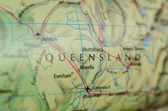Queensland on map. Close up shot of Queensland on map. Queensland abbreviated as Qld is the second-largest and third-most-populous state in the Commonwealth of stock photo