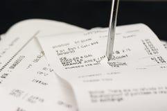 Pile of receipts Royalty Free Stock Photos