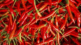 Close up shot of red chili peppers background Stock Photo