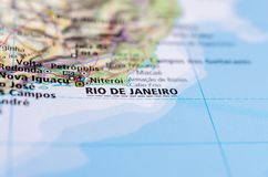 Rio de Janeiro on map. Close up shot of Rio de Janeiro. is the second-most populous municipality in Brazil and the sixth-most populous in the Americas Royalty Free Stock Photo