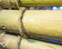 close up shot of rope and bamboo image Royalty Free Stock Images