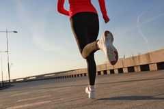 Close up shot of running woman. Selective focus Royalty Free Stock Photography