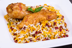 Close up shot of Saffron Rice and Barberries & x28;Zereshk polo& x29; with Chicken. Close up shot of Saffron Rice and Barberries & x28;Zereshk polo& x29 Royalty Free Stock Photography