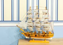 Close up shot of sail ship model Stock Photos