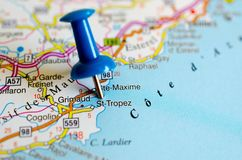 Saint-Tropez on map. Close up shot of Saint Tropez on map with blue push pin Stock Images