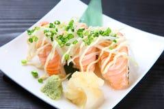 Close up shot of salmon sushi Stock Images