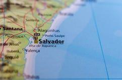 Salvador, Bahia on map. Close up shot of Salvador, Bahia. is the capital of the Brazilian state of Bahia Royalty Free Stock Photo
